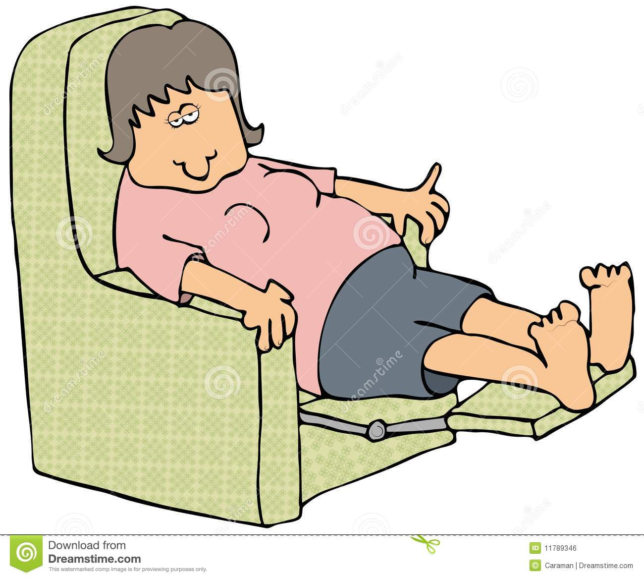 Woman On A Recliner Royalty Free Stock Image.