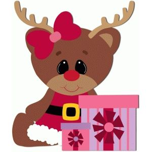 Girl reindeer sitting with presents.