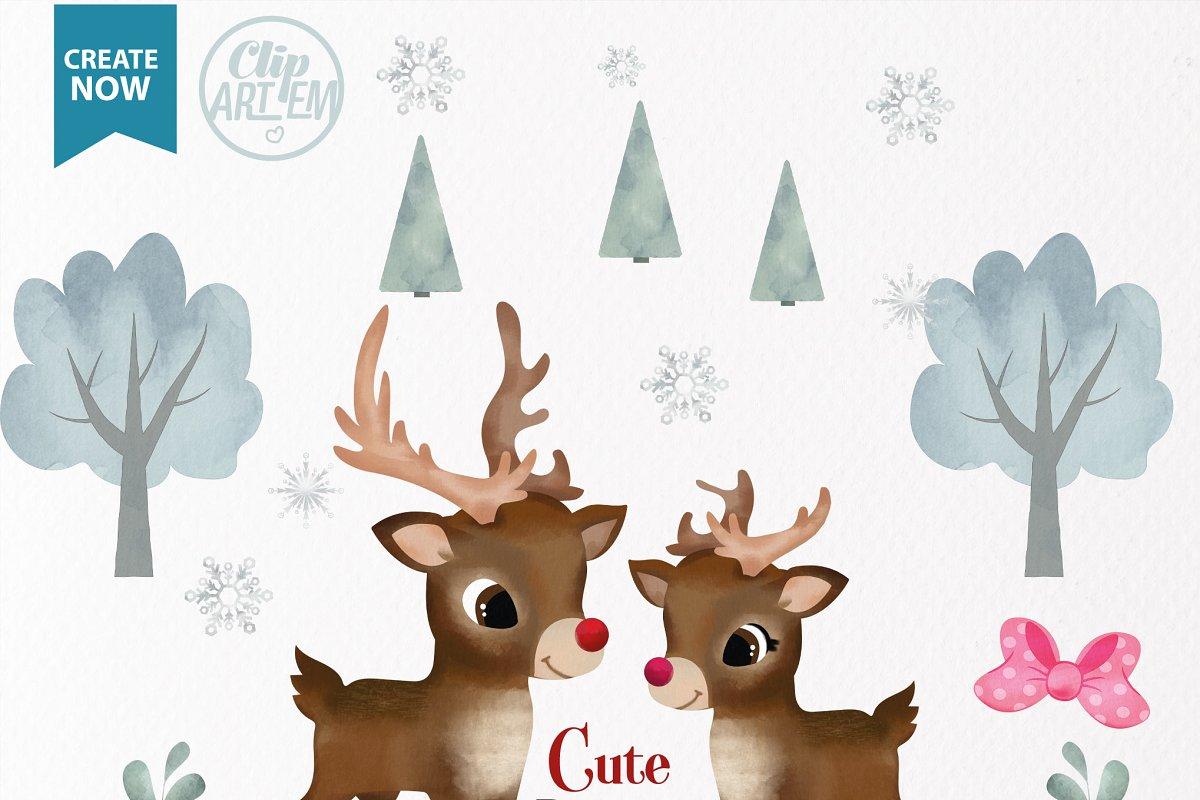 Watercolor Reindeer boy girl clipart.