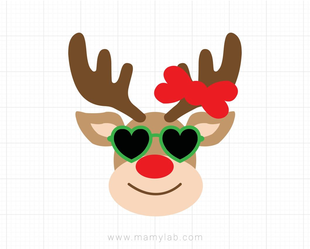 Reindeer with Sunglasses Svg, Christmas Svg, Girl Reindeer Svg, Dxf, Png,  Kids Cut Files, Xmas Svg, Holiday Clipart, Silhouette, Cricut.