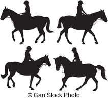 girl riding a horse clipart #10