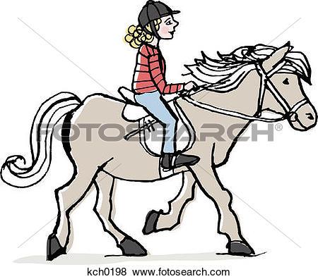 girl riding a horse clipart #7