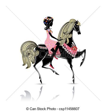Vector Clipart of Girl Riding a Horse.