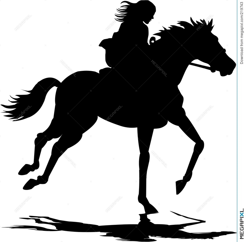 girl riding a horse clipart #2