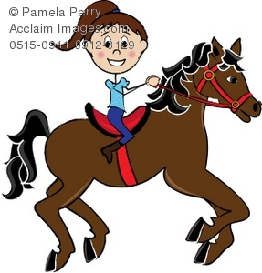 Clip Art Illustration of a Girl Riding a Galloping Horse.