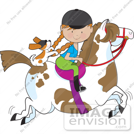 Clip Art Graphic of a Red Haired Girl Riding a Painted Brown and.