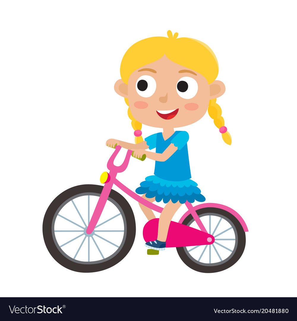Cartoon Blonde Girl Riding Bike Stock Vector Cartoons Riding.