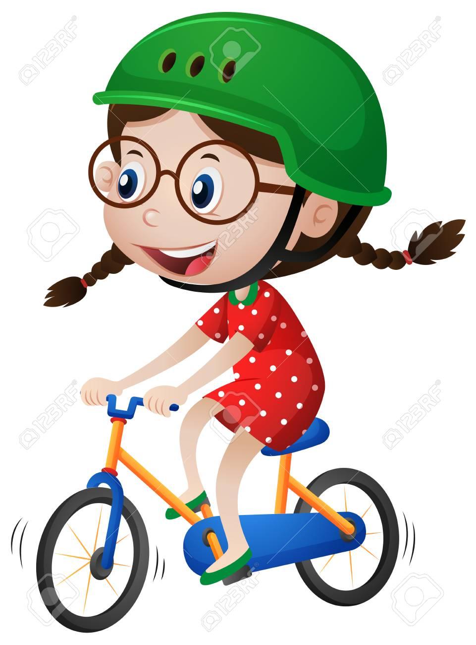 Little Girl Riding Bike Clipart.