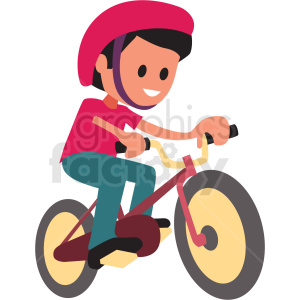 cartoon boy riding bike clipart. Royalty.