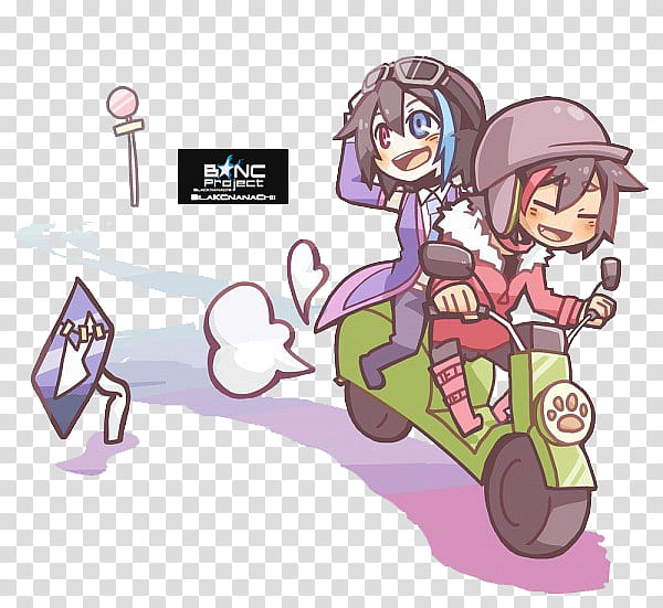Yokune Ruko and Rook Render, boy and girl riding on.