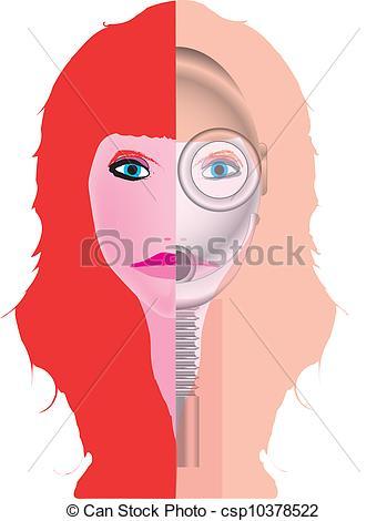 Vector Illustration of Robot Girl.