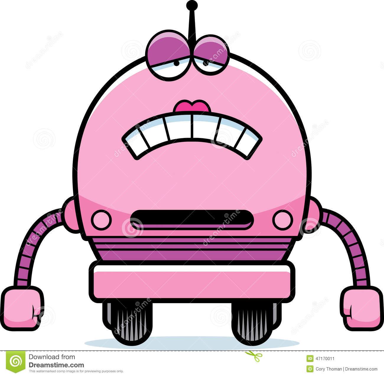 Sad Female Robot Stock Vector.