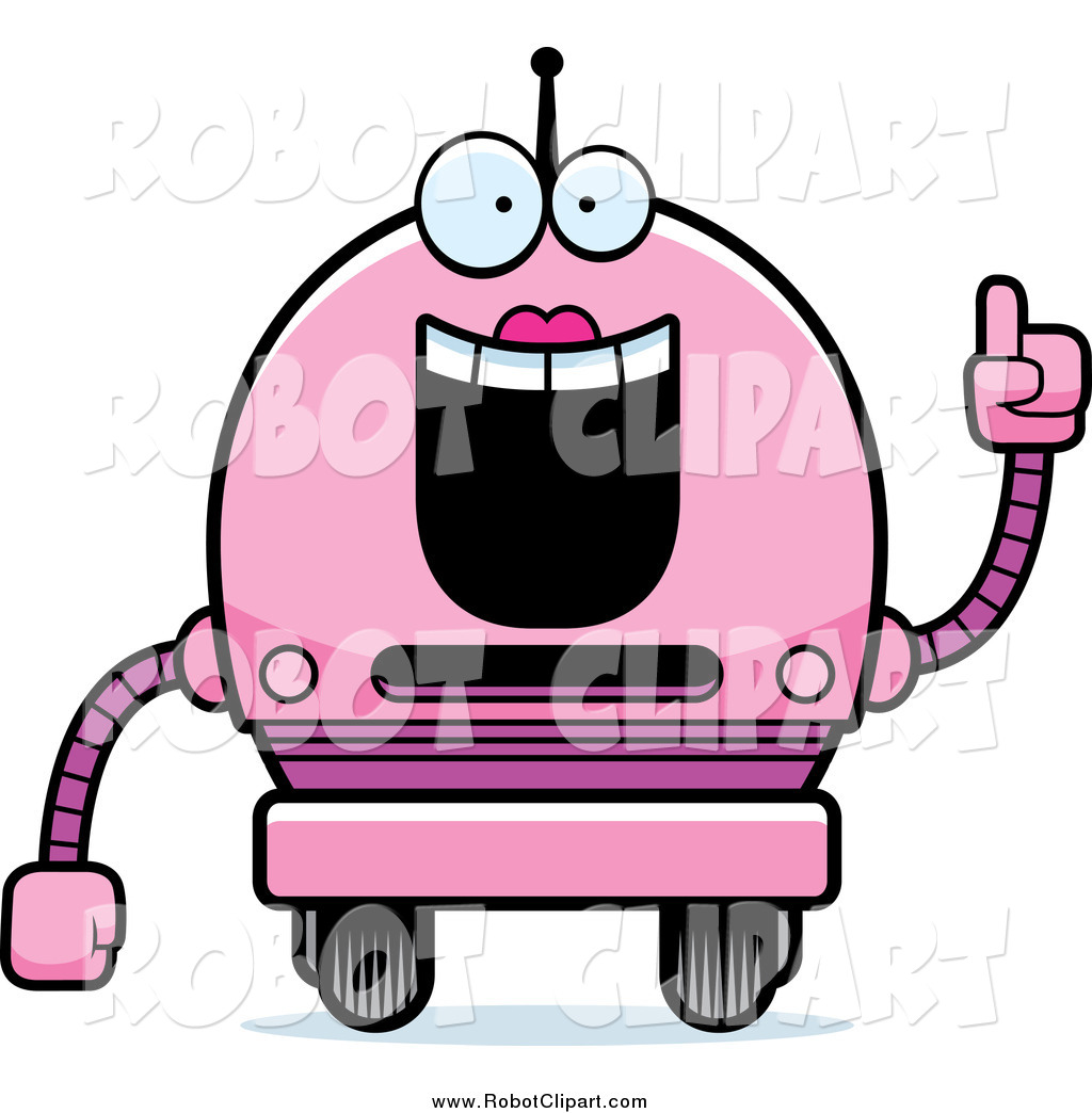 Clipart of a Smart Pink Robot Girl with an Idea by Cory Thoman.