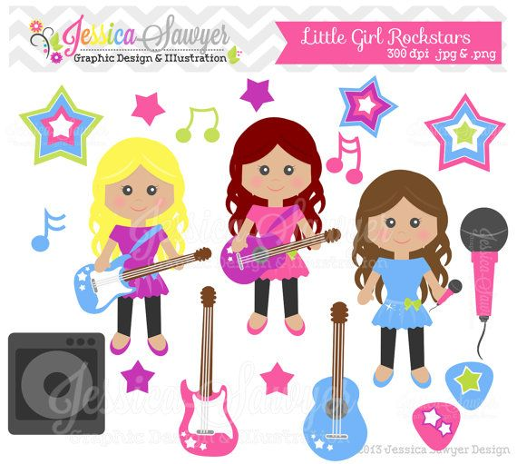 INSTANT DOWNLOAD, little girl rockstar clipart, rockstar.