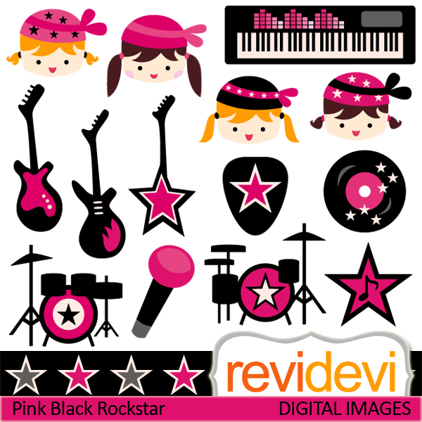 Rockstar cliparts in pink black. Girls with head bands, electric.