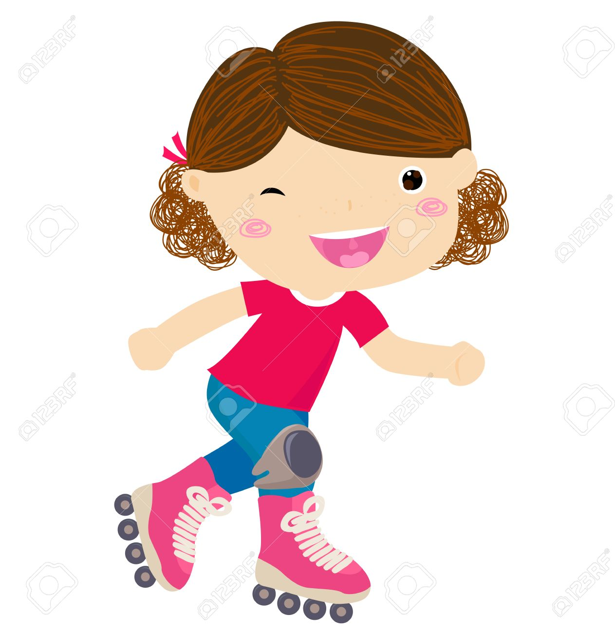 Cute little girl riding roller skates.