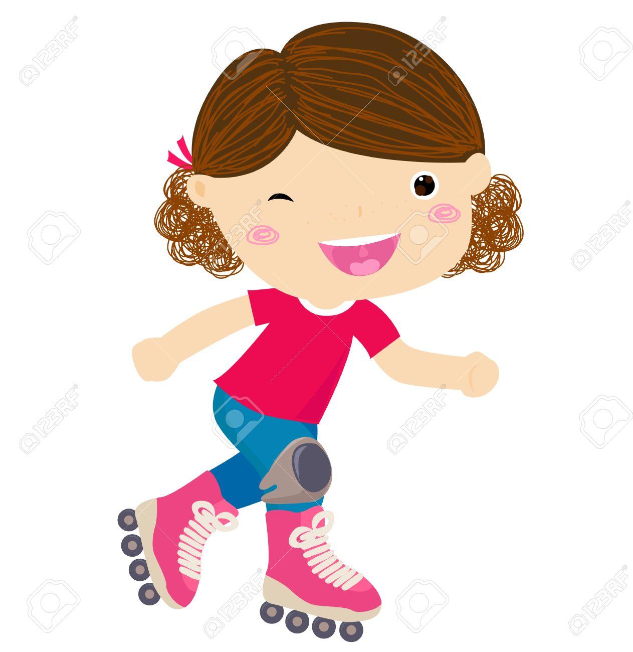 Cute little girl riding roller skates.