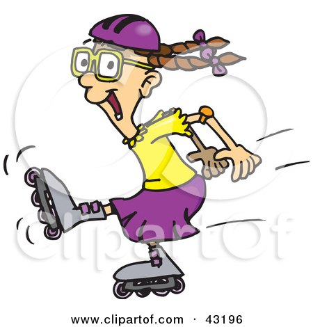 Cartoon of a Happy Girl Roller Blading.