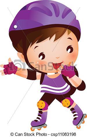 EPS Vectors of Girl on rollerblades csp11083192.