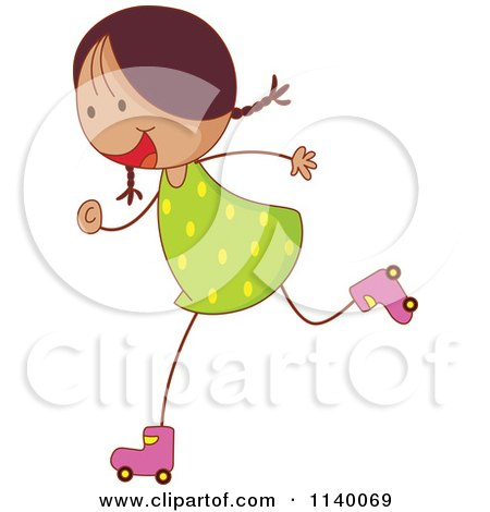 Clipart of a Girl Roller Skating on a City Path.
