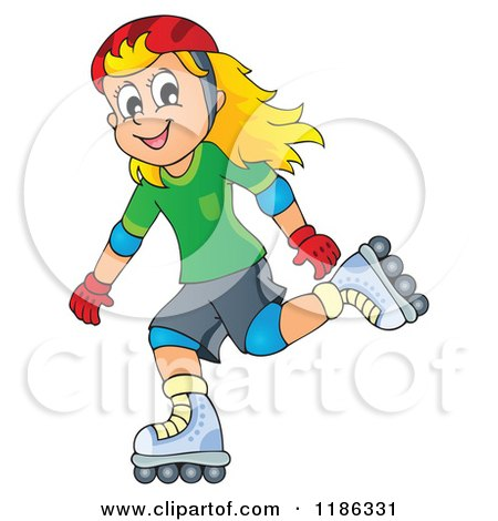 Pretty Long Red Haired Girl Rollerblading Clipart Illustration by.