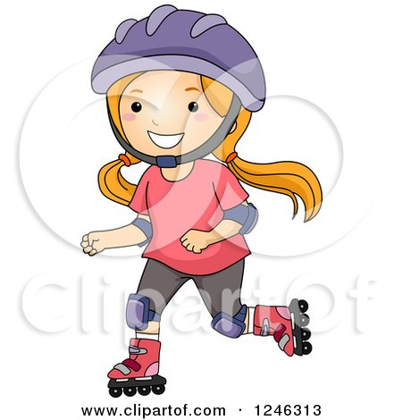 Clipart Illustration of an Energetic Girl Roller Blading by Dennis.