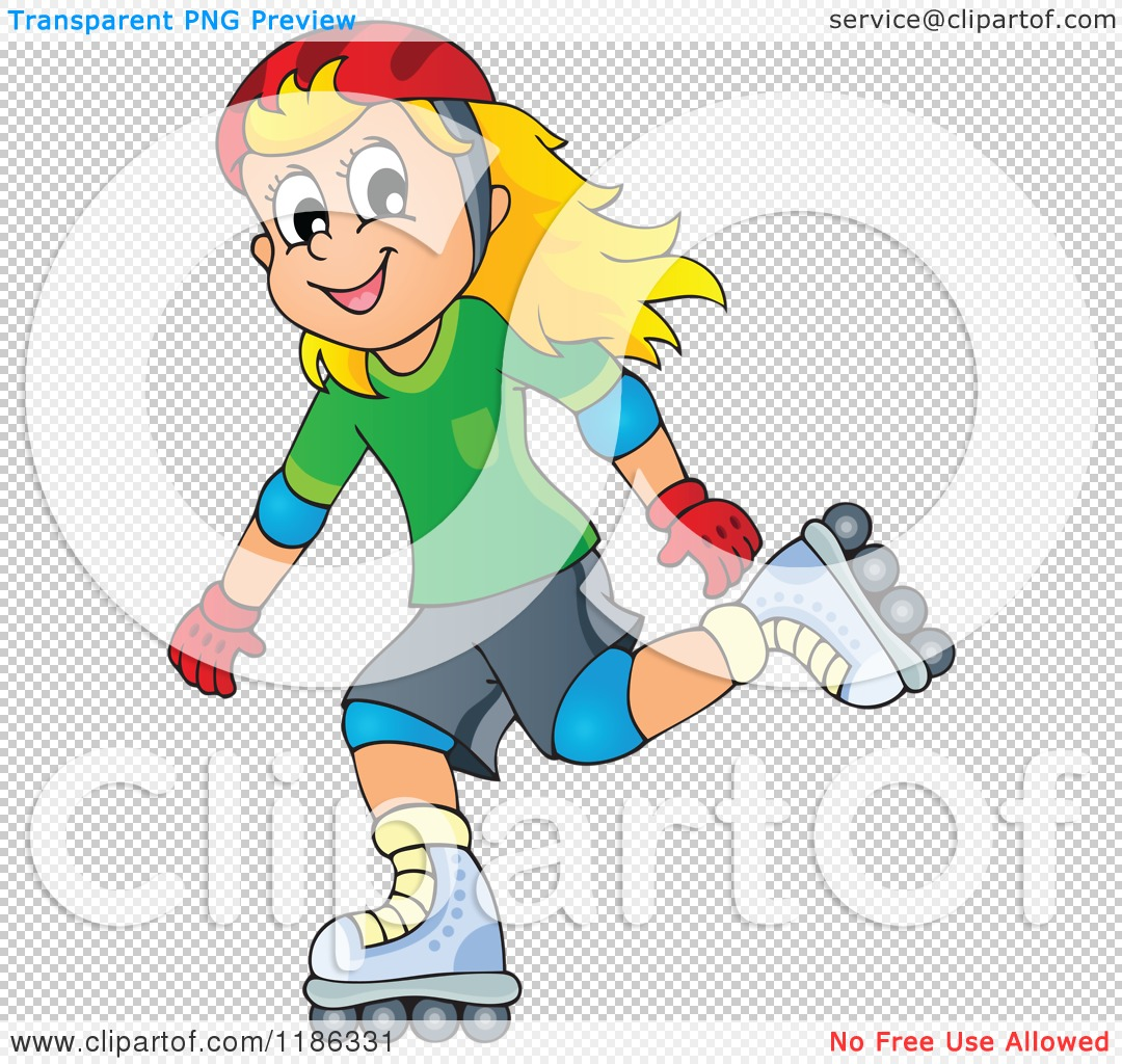 Girl Rollerblading Clipart With No Watermark.