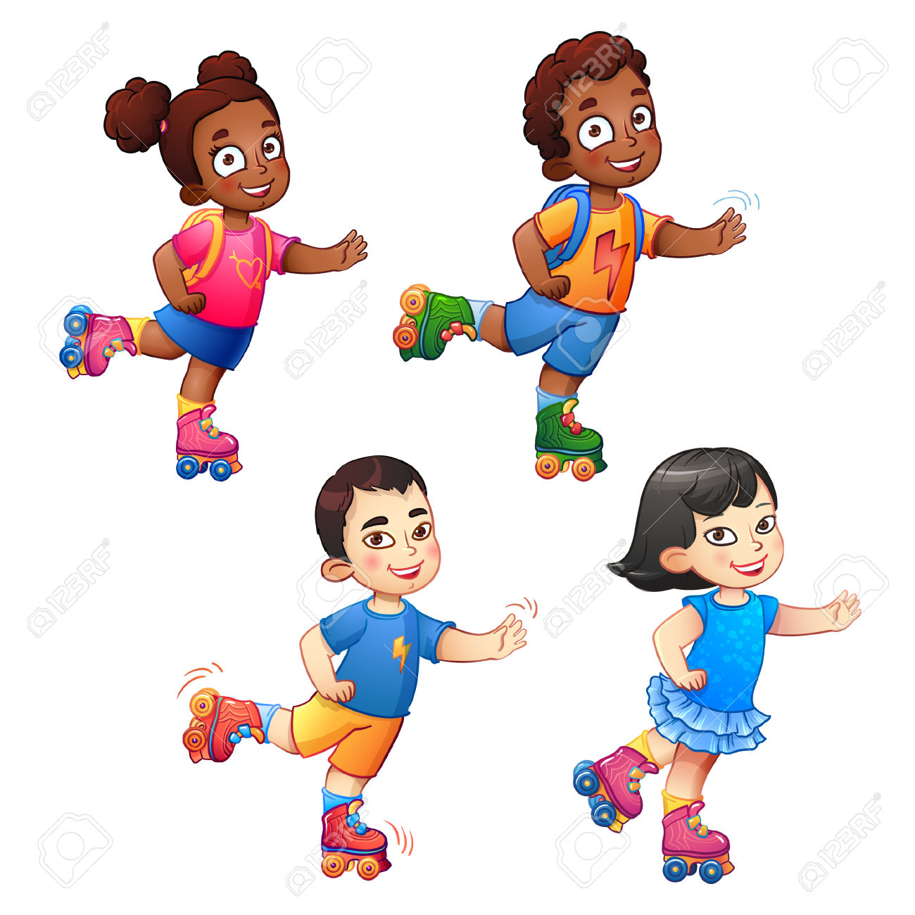 Girl Rollerblading Clipart With No Splash.