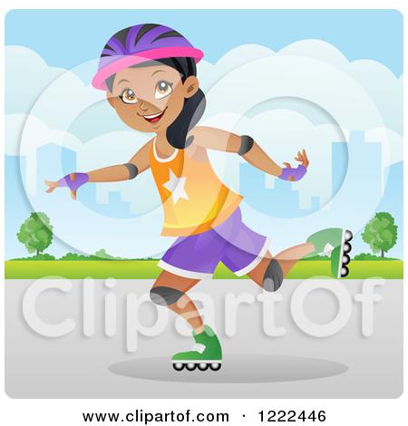 Girl Rollerblading Clipart.