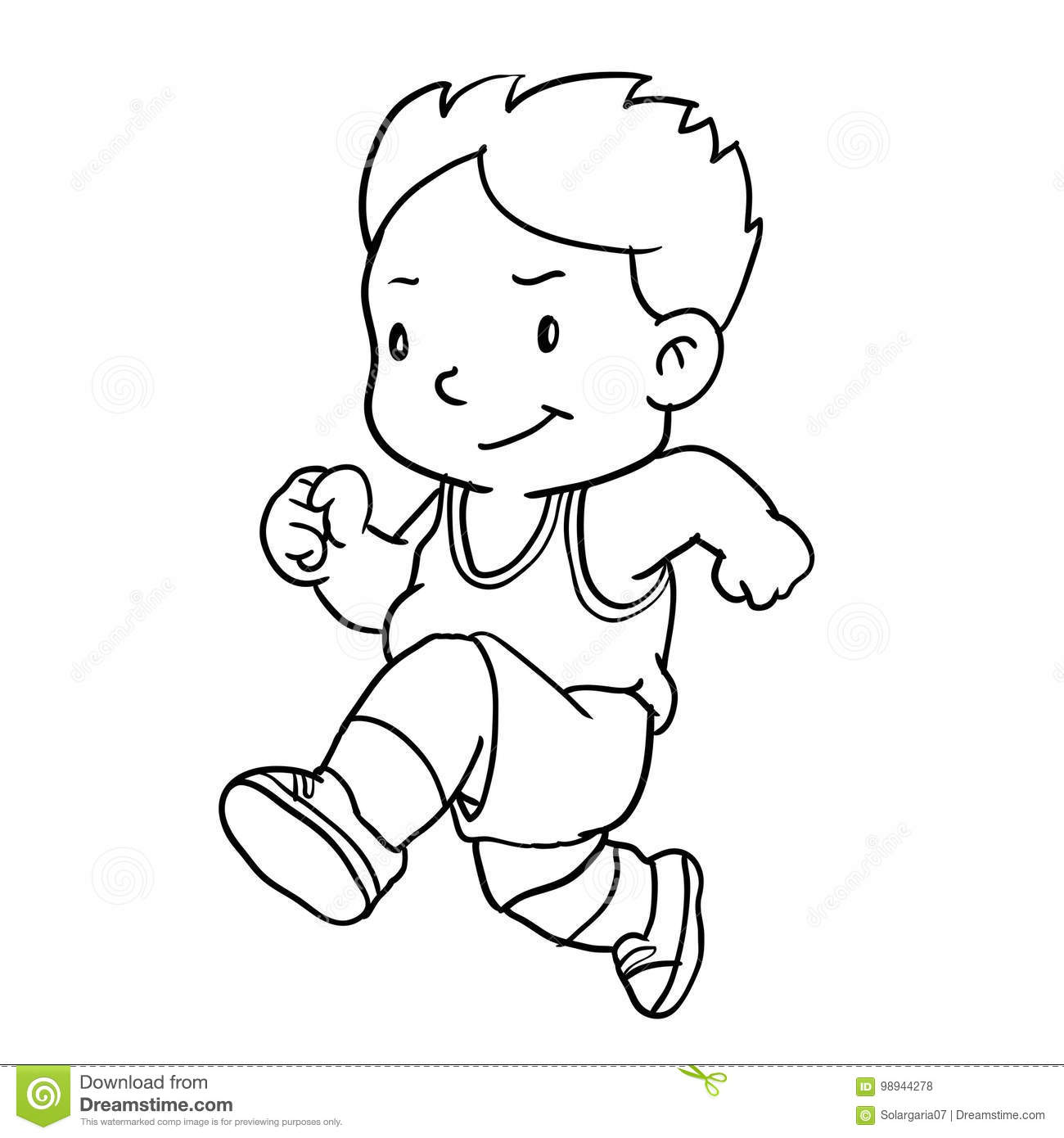 Boy Running Clipart Black And White.
