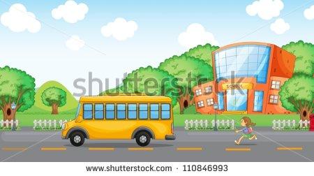 Girl Running From School Bus Clipart.