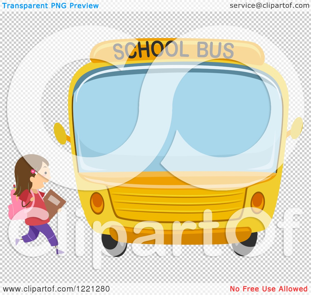 Clipart of a School Girl Running to a Bus.