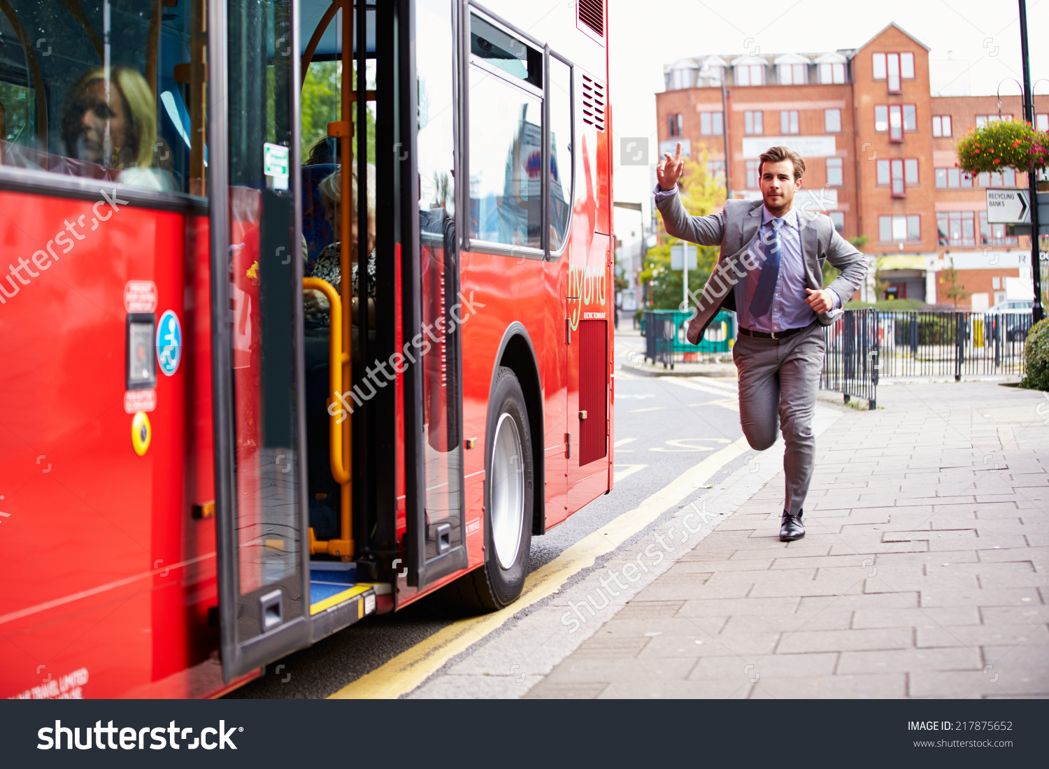Businessman Running Catch Bus Stop Stock Photo 217875652.