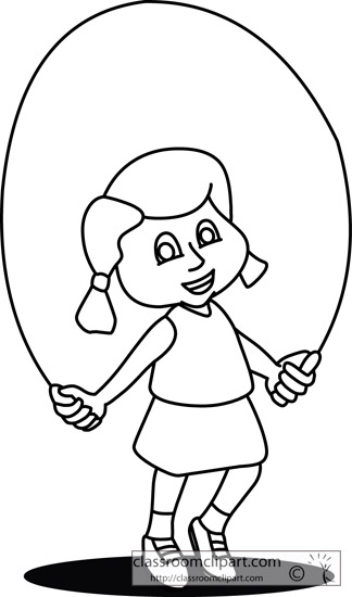 Girl Skipping From Bus Clipart.