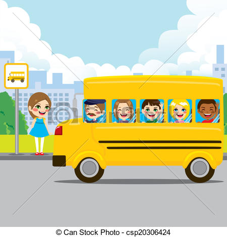 Girl Getting On Bus Clipart.
