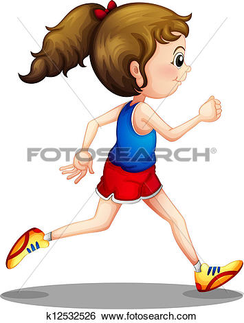 Clipart of A running girl k12176492.