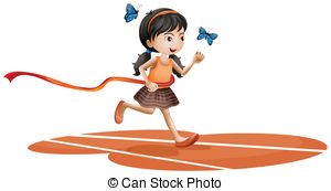Clip Art Vector of girls and race track.