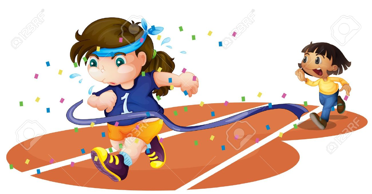 girl gets run over at track meet clipart