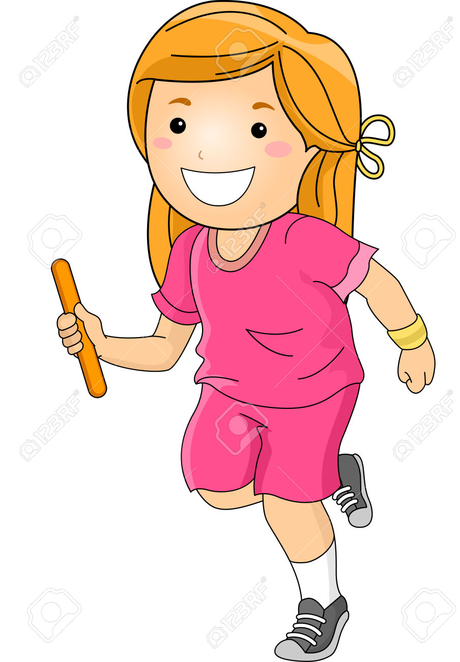 Illustration Featuring A Girl Participating In A Relay Race.