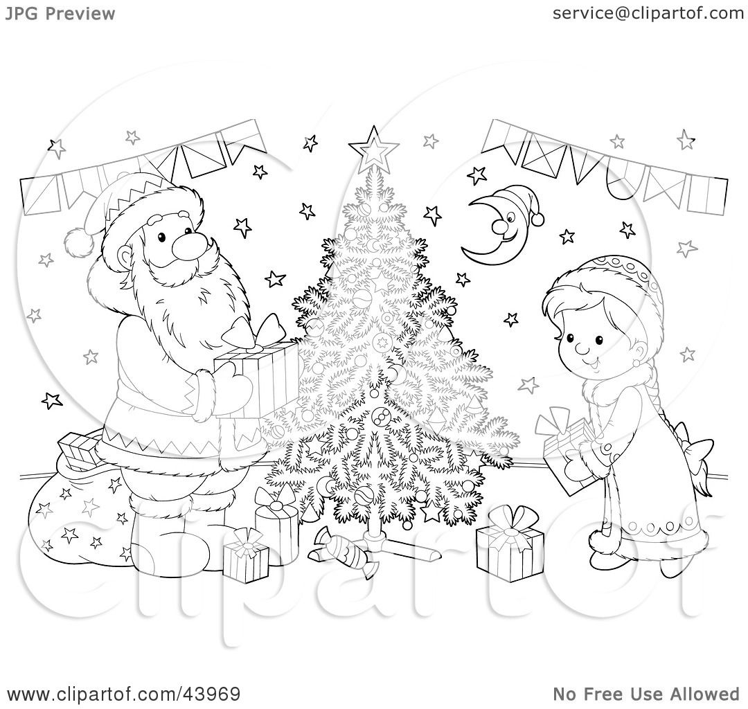 Clipart Illustration of a Black And White Santa Claus And Girl.