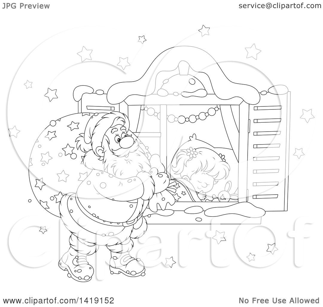 Clipart of a Black and White Lineart Girl Sleeping on Christmas.