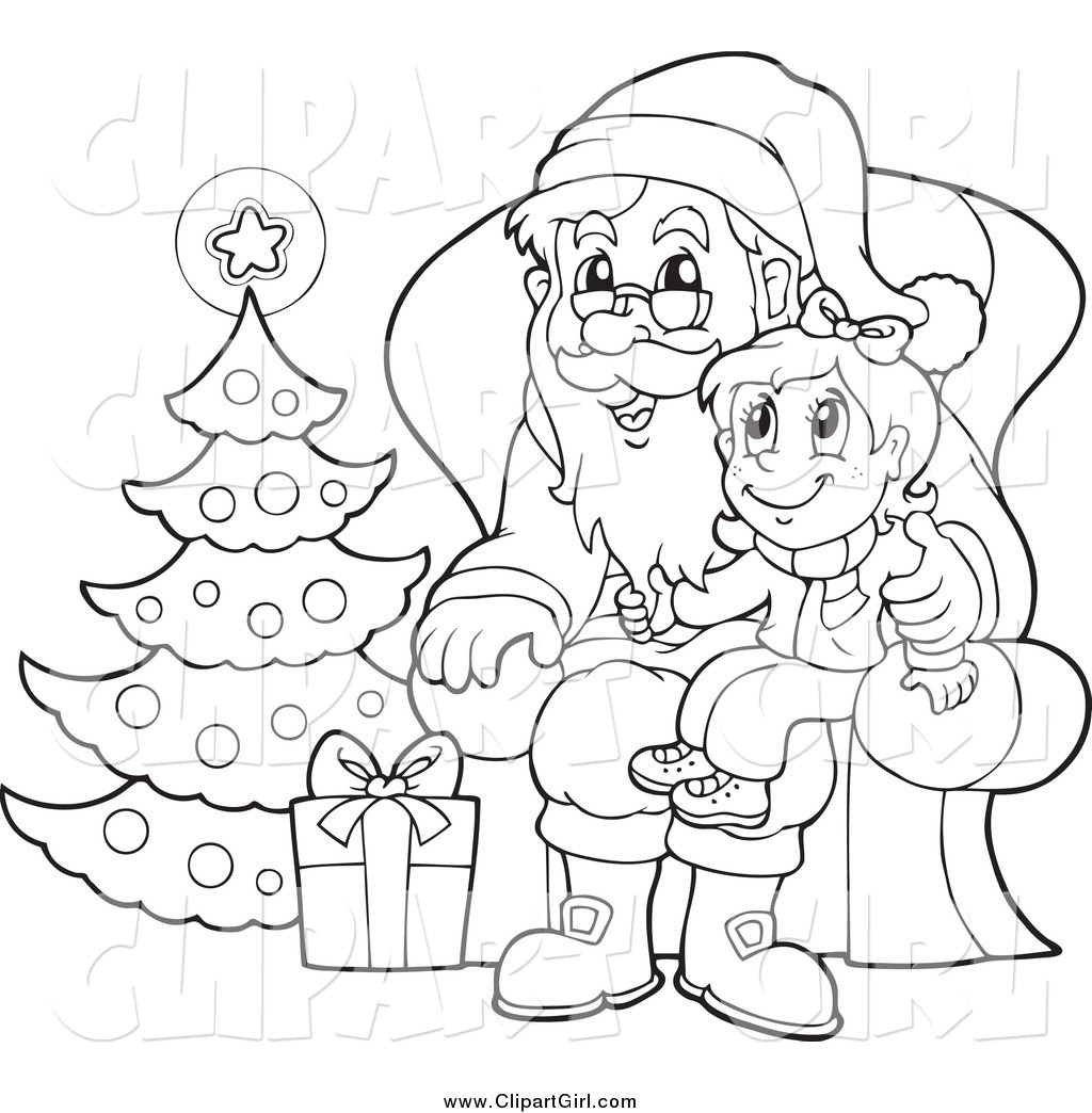 Father Christmas Clipart Black And White.