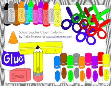 Girl School Supplies Clipart.