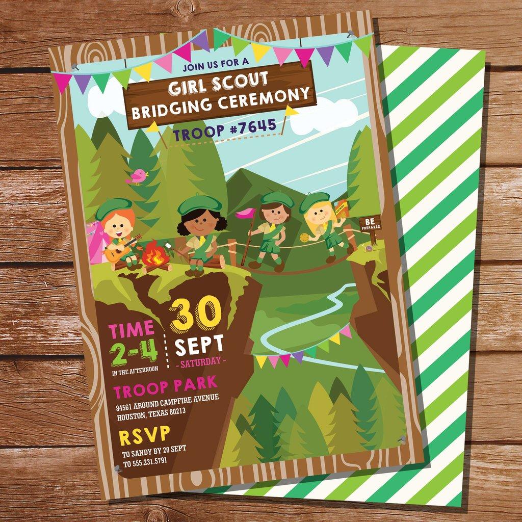 Girl Scout Bridging Ceremony Invitation.