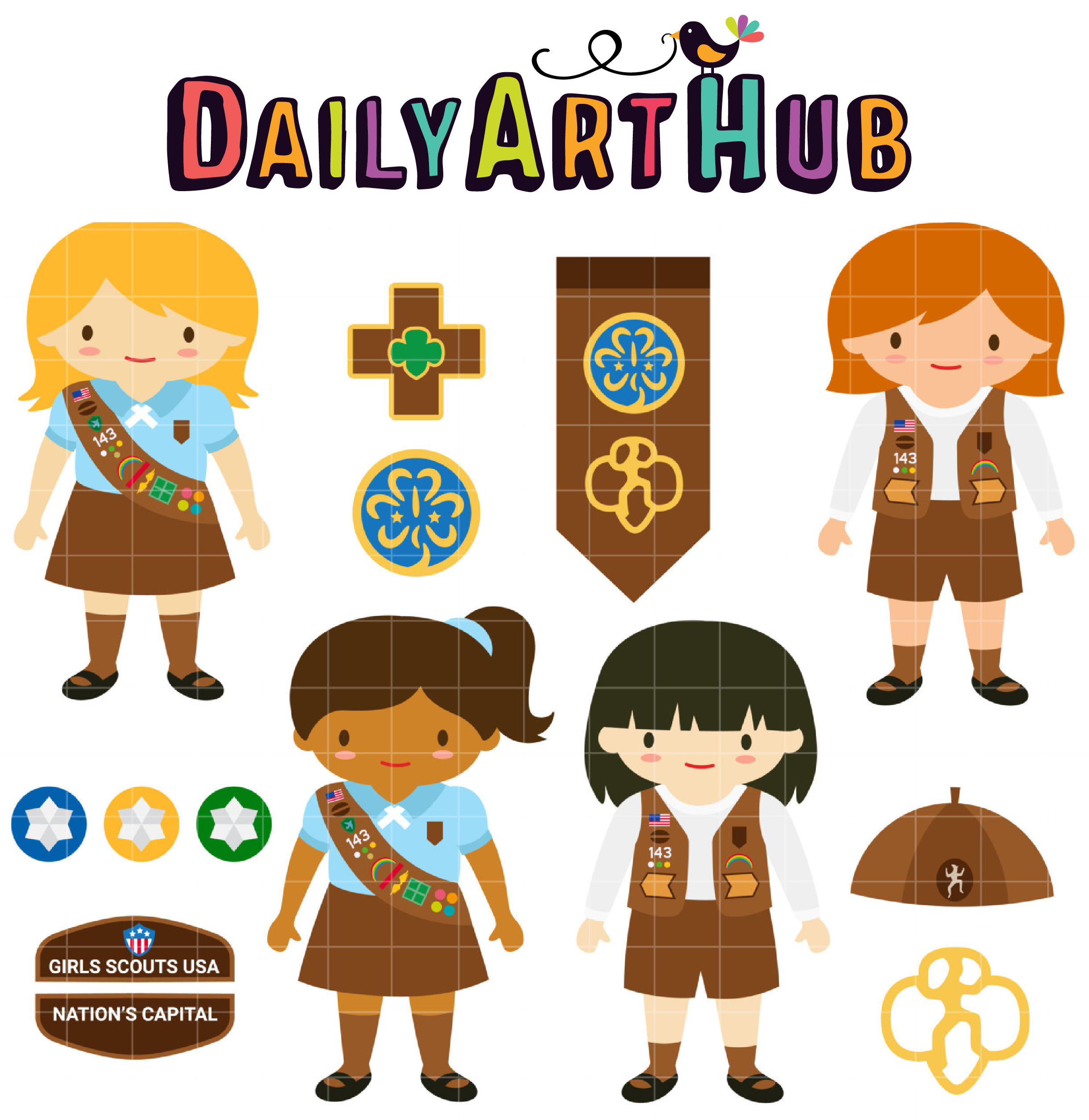 Brownie Girl Scouts Clip Art Set.