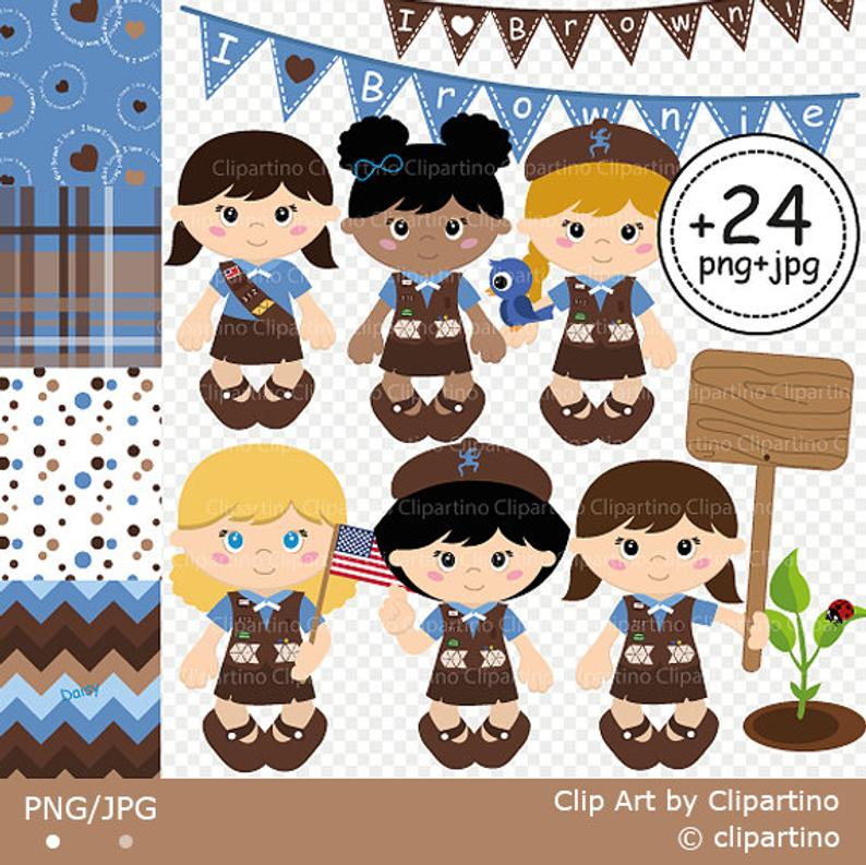 Brownie Girl Scout Clipart Scout Girl Clip art Camping Clip art For teachers.