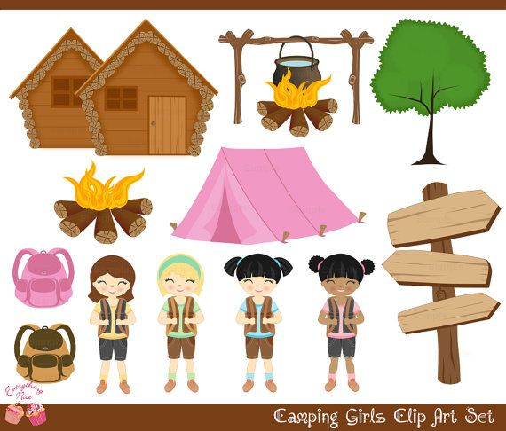 Camping Girls Clip Art Set.