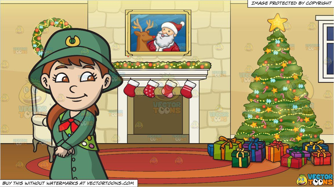 clipart #cartoon A Pretty Girl Scout and A Fireplace Beside.
