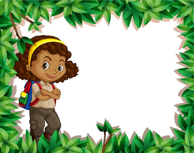A girl scout on nature border.