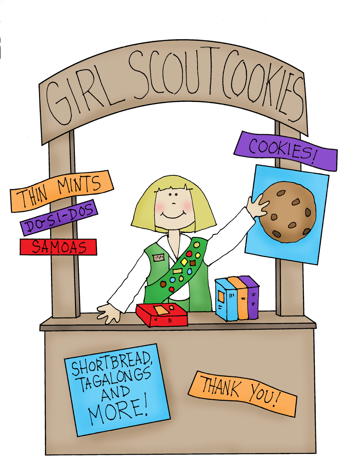 Free Dearie Dolls Digi Stamps: Girl Scout Cookie Booth.